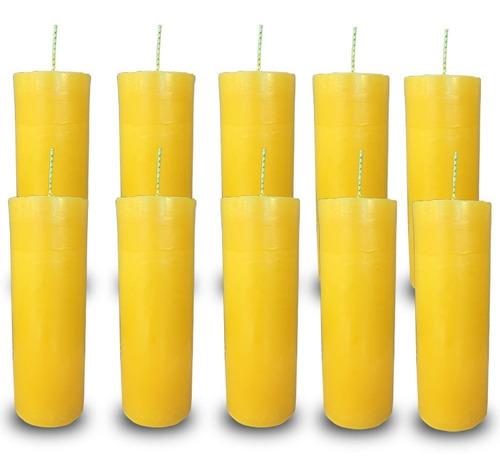 kit 10 velas votivas 7 sete dias colorida amarela