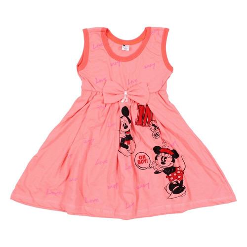 kit 10 vestido sem manga personagem infantil estampado
