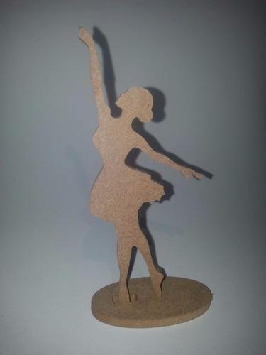 kit 100 bailarina com 15 cm em mdf cru de 6mm festa menina
