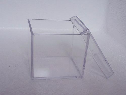 kit 100 caixinha 4x4x3,3cm + 50 mini copinho 10ml acrílico