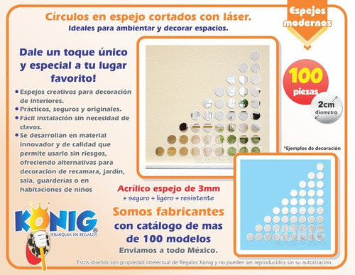 kit 100 circulos espejo 2cm originales decoracion economicos