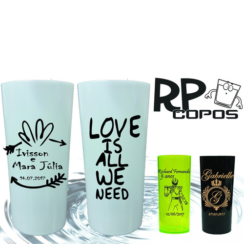 kit 100 copos long drink 320ml personalizados
