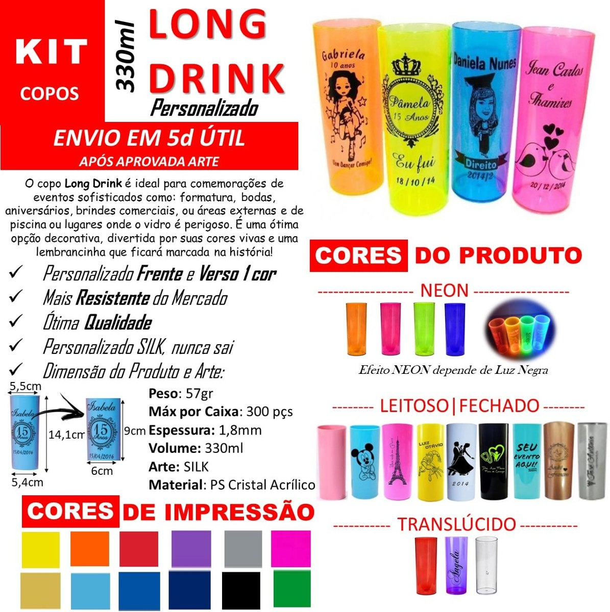 Kit 100 Copos Long Drink Personalizado 330ml Acrílico Pr