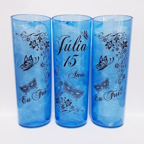 kit 100 copos long drink personalizado - frente e verso