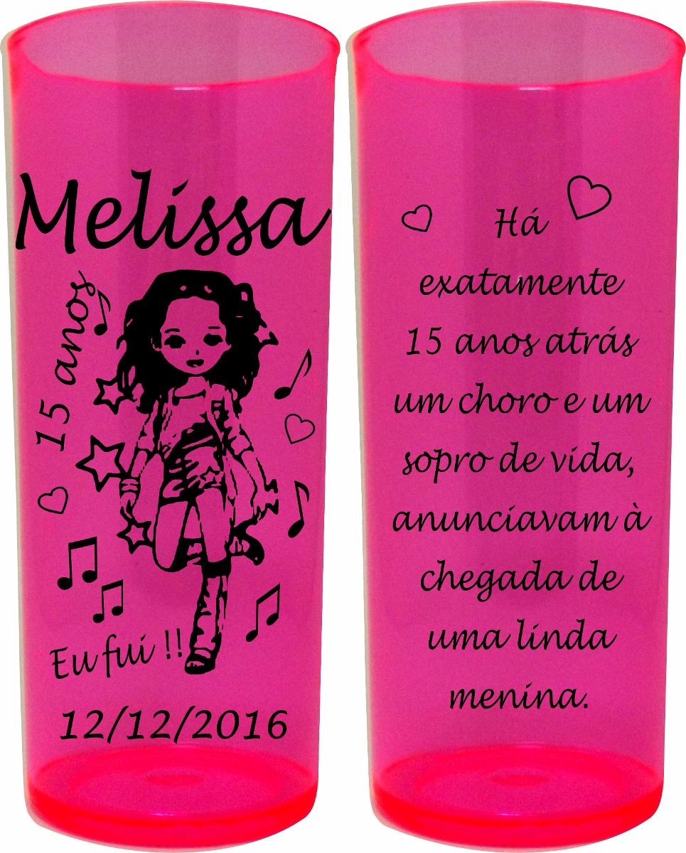 Kit 100 Copos Long Drink Personalizados Festa 15 Anos Infant R