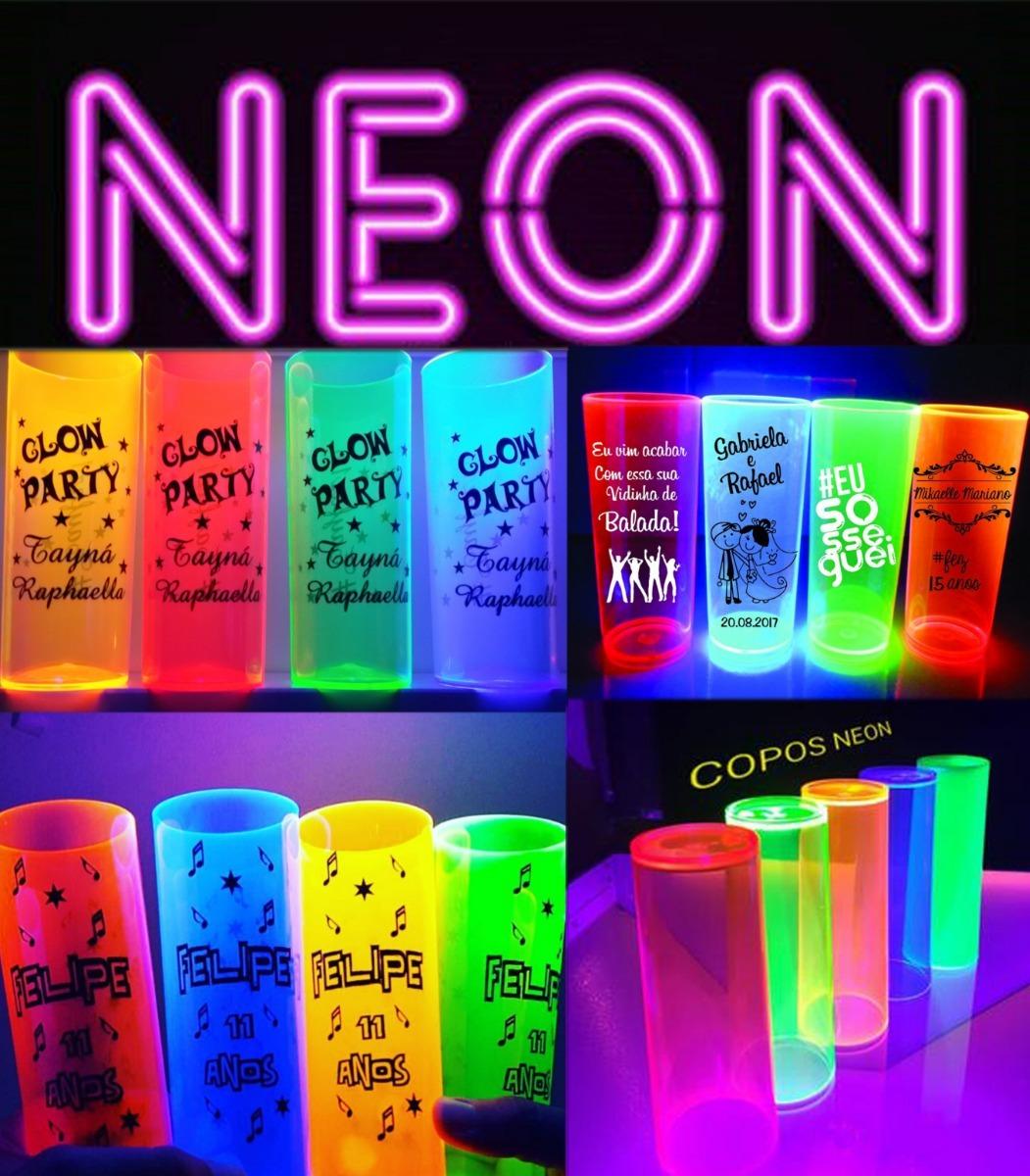 Kit 100 Copos Long Drink Personalizados Neon R$ 195 60