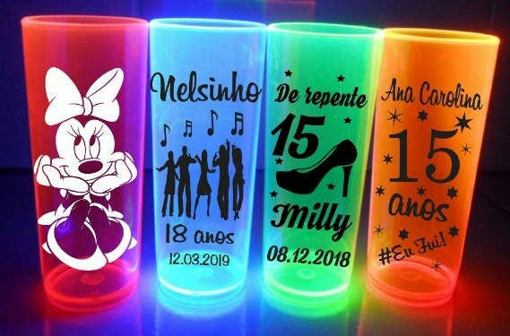 403ffc5d7 Kit 100 Copos Long Drink Personalizados Neons 350 Ml - R  115