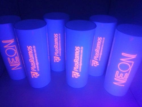 kit 100 copos personalizados acrilico com tinta neon