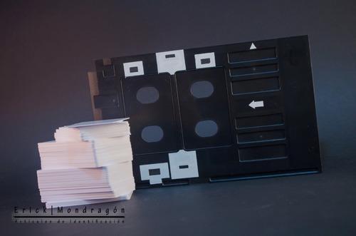 kit 100 credenciales charola/bandeja de impresion y perforad
