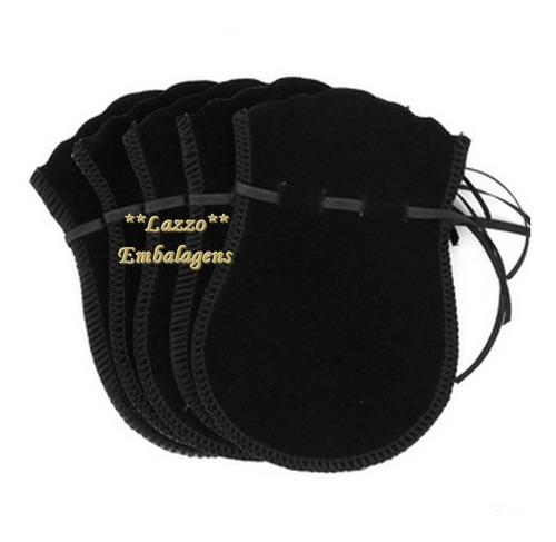 kit 100 embalagens saco veludo para joias preto 7x10cm