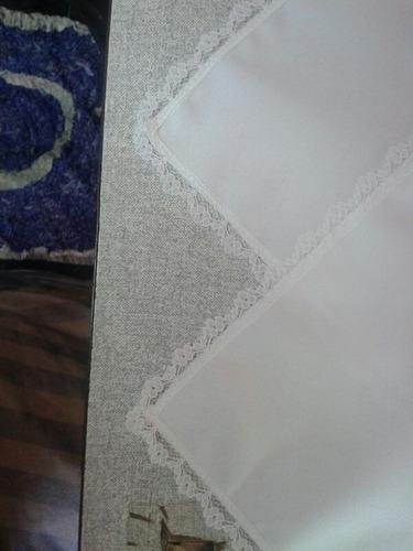 kit 100 guardanapos oxford 40x40 branca com renda 1cm