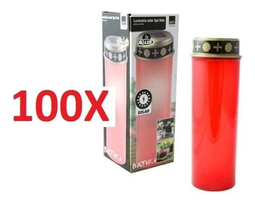 kit 100 luminária espeto solar vela jardim led balizador lux