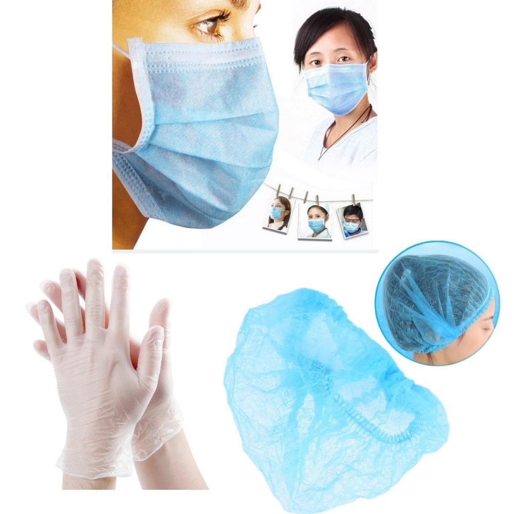 Kit 100 Luvas Estética Touca E Mascara Salão Manicure Oferta - R ... f81f4121283