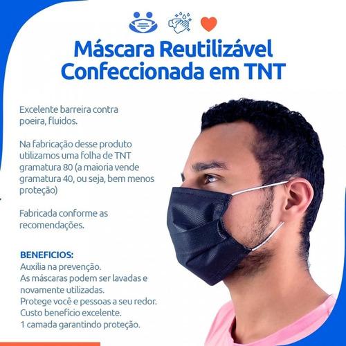 kit 100 máscaras de tnt 80 reutilizável (atacado)