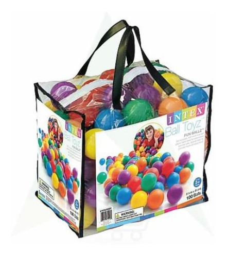 kit 100 pelotas plásticas intex 6,5 cm
