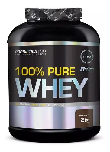 kit 100% pure whey 2kg chocolate probiótica + brinde coque