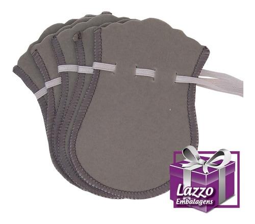 kit 100 sacos de veludo cinza para joias 7x10cm