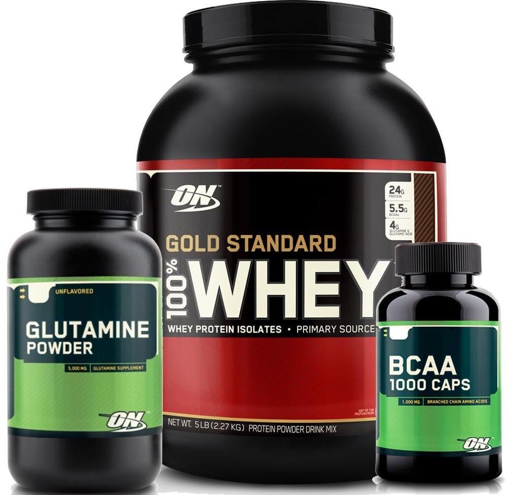 5d0809fd8 kit 100% whey gold 5lb + bcaa 1000 + glutamine - optimum. Carregando zoom.