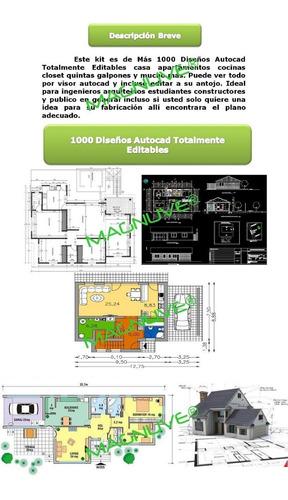 kit + 1000 diseños autocad totalmente editable casas oficina