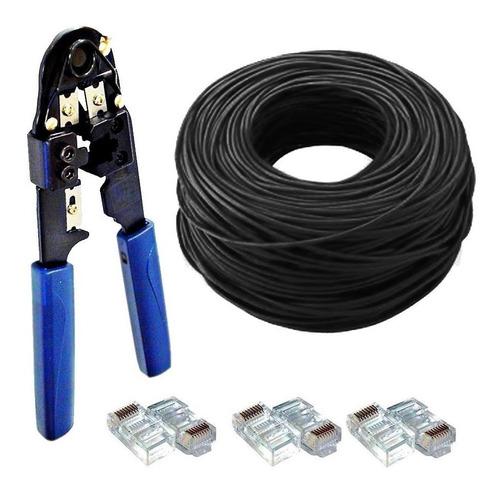 kit 100m cabo rede + 20 plug rj45 + 1 alicate crimpar preto