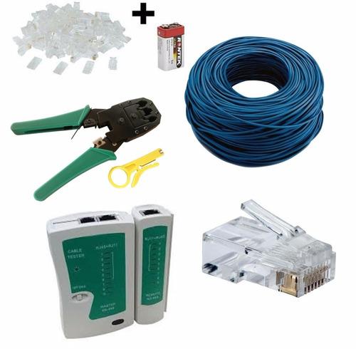 kit 100m cabo rede + alicate + testador + bateria+ 50 rj45