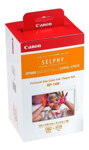 kit 108 hojas papel fotografia y cartucho canon selphy