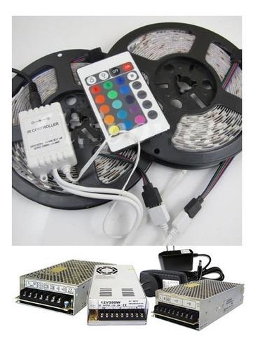 kit 10m tira flex.led rgb 3528 ip33+ control 24o+elim 5a @lb