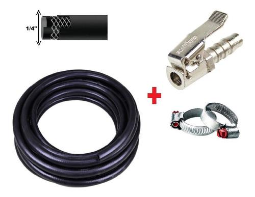 kit 10mt mangueira ar compressor + bico encher pneu presilha