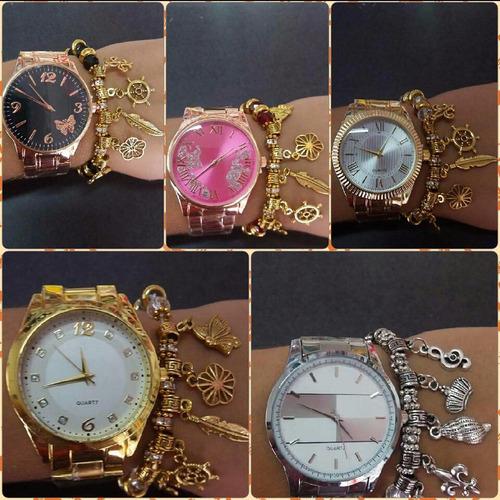 kit 10relogios feminino dourado folhado no atacado+pulseira