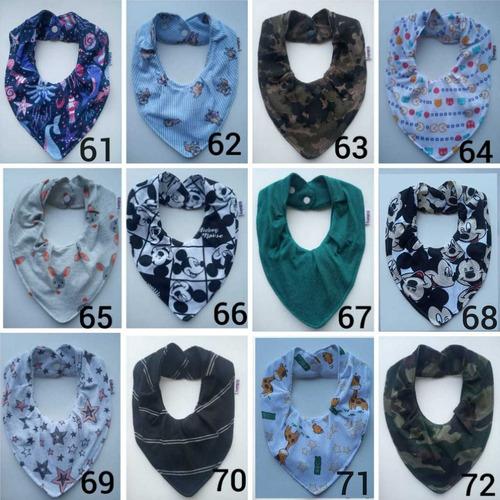 kit  11 babador bandana impermeável com  regulagem babadores