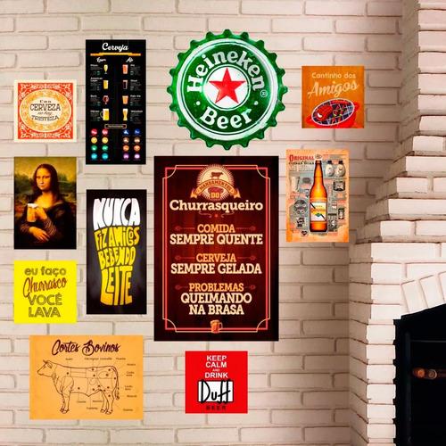 kit 11 placas decorativas - churrasco - lazer