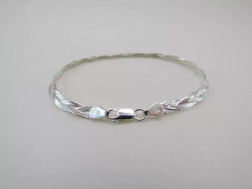 kit 11 pulseiras trançadas italiana feminina  prata 925