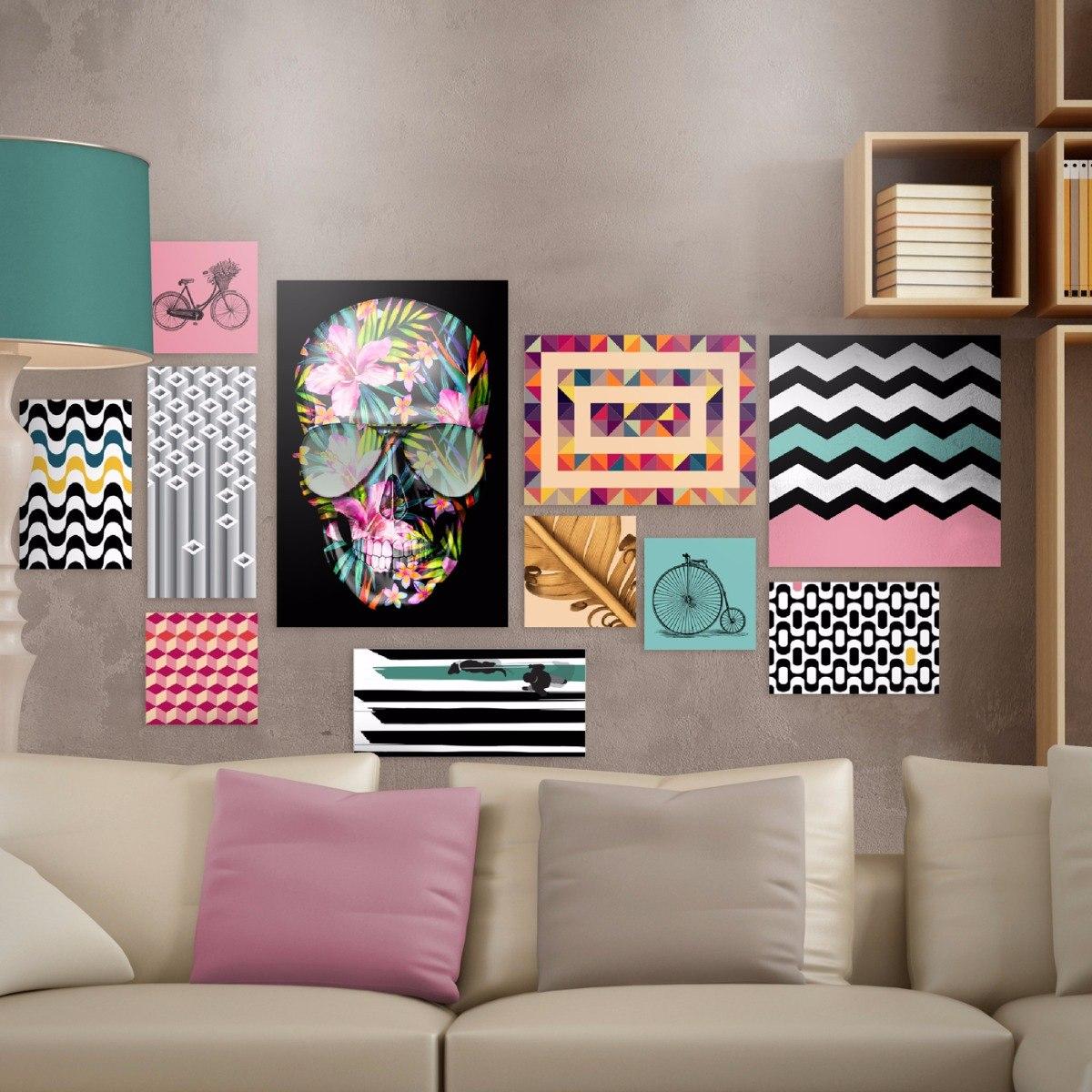 Kit 11 quadros decorativos artes geom tricas e modernas for Figuras en draibol para sala