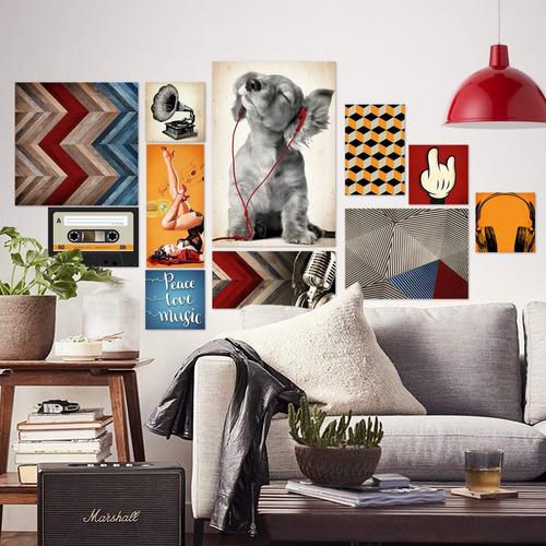 kit 11 quadros decorativos - artes geométricas música
