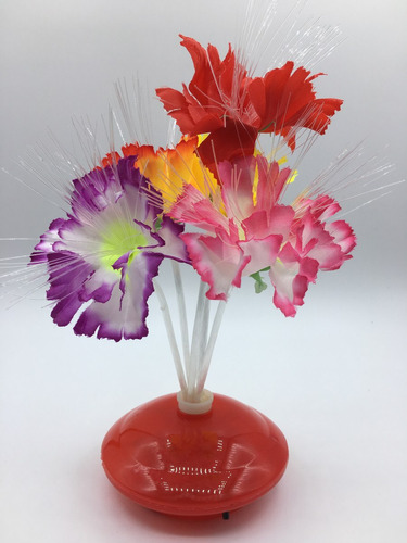 kit 12 abajures de mesa luminária de fibra ótica flor decora