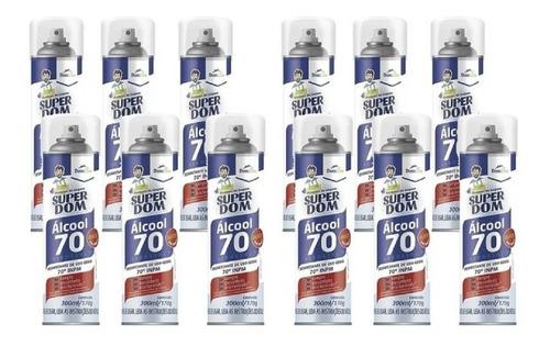 kit 12 álcool spray 70 super dom 300ml - aerosol - domline