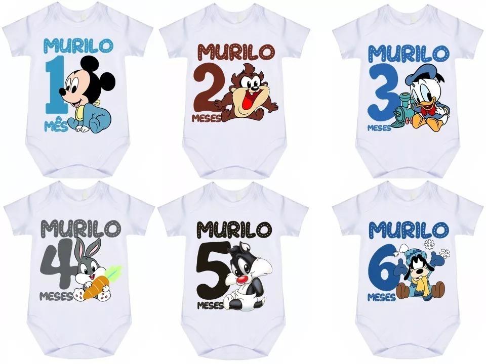 307aff836 kit 12 body bebê mes aniversário mickey looney tunes. Carregando zoom.