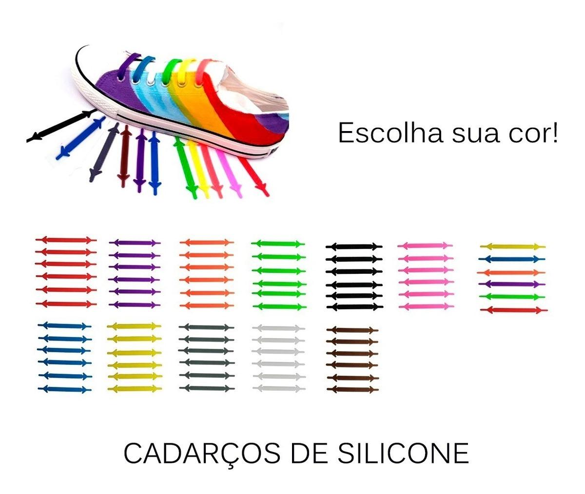 dd701b138f kit 12 cadarço silicone colorido tênis unissex fashion sapat. Carregando  zoom.
