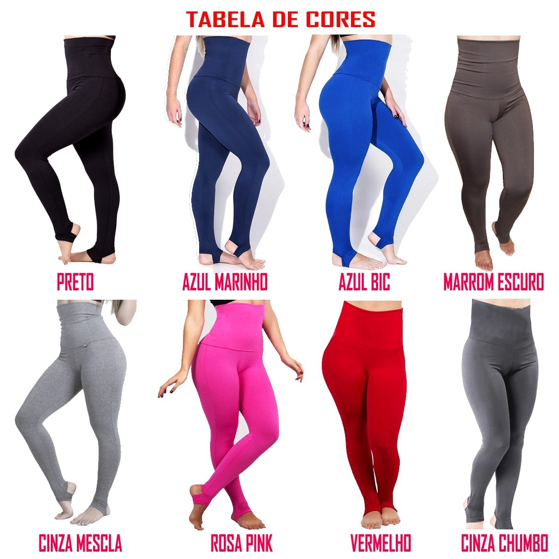 05fb705338 kit 12 calça legging cintura super alta modeladora fitness. Carregando zoom.