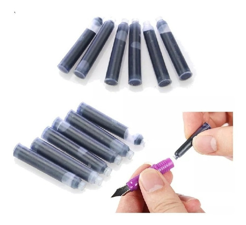 kit 12 cartuchos tinta carga caneta tinteiro frete grátis