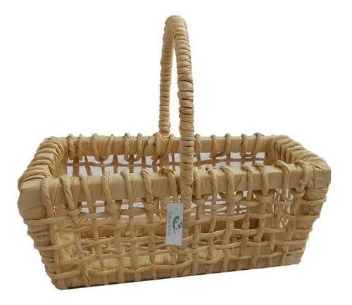 kit 12 cestinhos de palha de milho natural 19x11x07