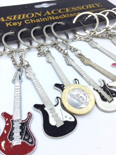 kit 12 chaveiros guitarra musical brindes festa rock in rio