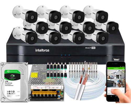 kit 12 câmeras intelbras g5 multi hd 720p 1mp dvr 16 canais