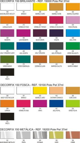 kit 12 cores tinta ceramica porcelana decorfix 150 37ml