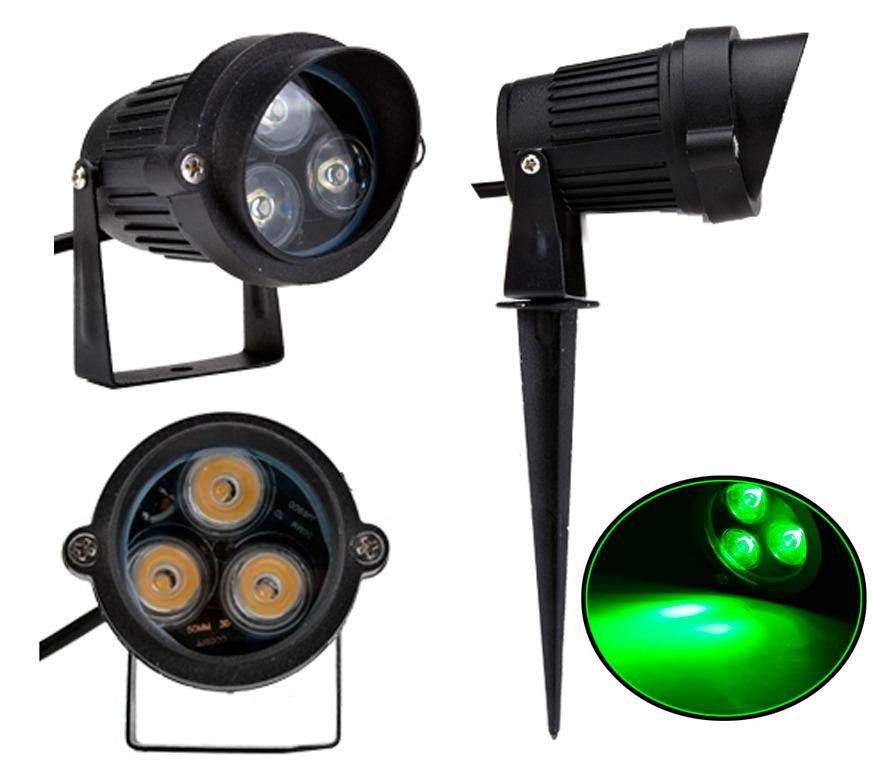 kit iluminacao jardim:Kit 12 Espeto Jardim Luminária Led 3w Iluminação Verde Mod B – R$
