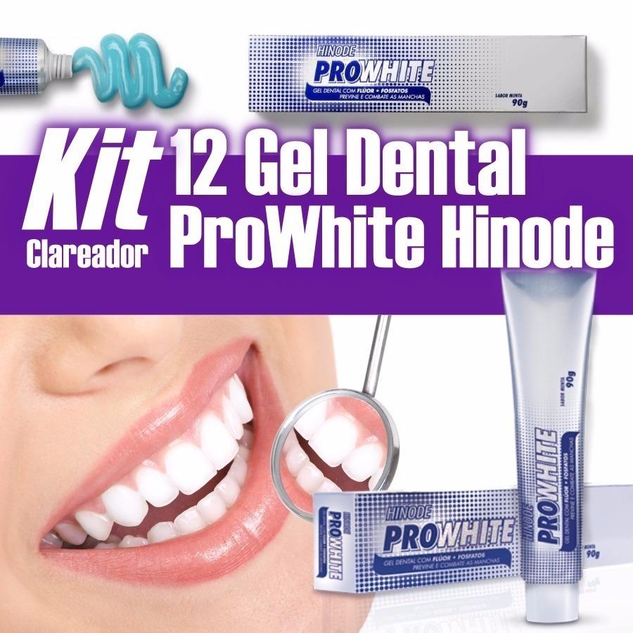 Kit 12 Gel Dental Pro White Hinode Pasta De Dente Clareador R 129