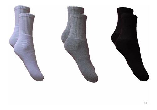 kit 12 pares meias algodão cano médio branca atacado