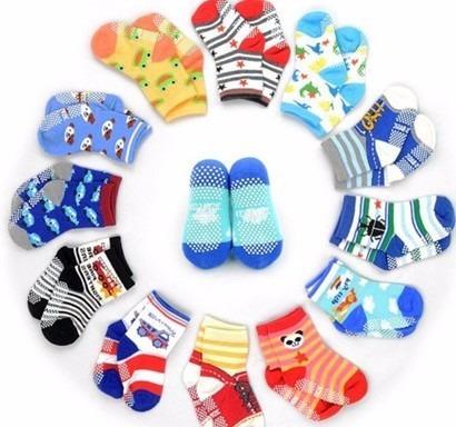 kit 12 pares meias infantil menino antiderrapantes barato