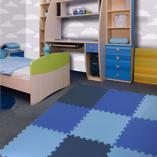 kit 12 pçs tapete eva emborrachado azuis cobre 2,5 x 1,5 m²