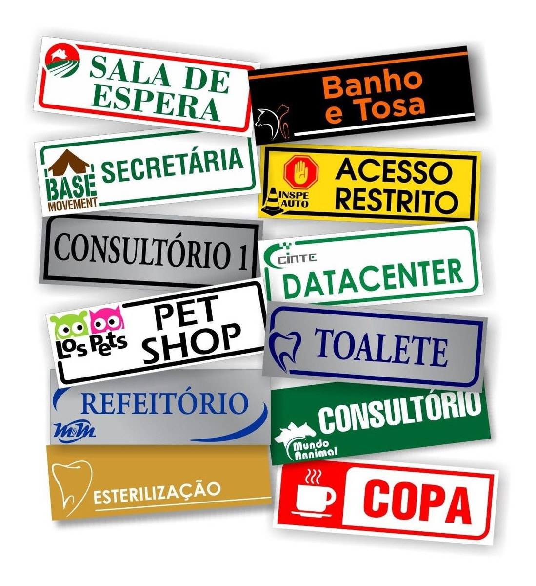 Kit 12 Placas De Identificação De Sala Personalizada 26x9cm - R ...